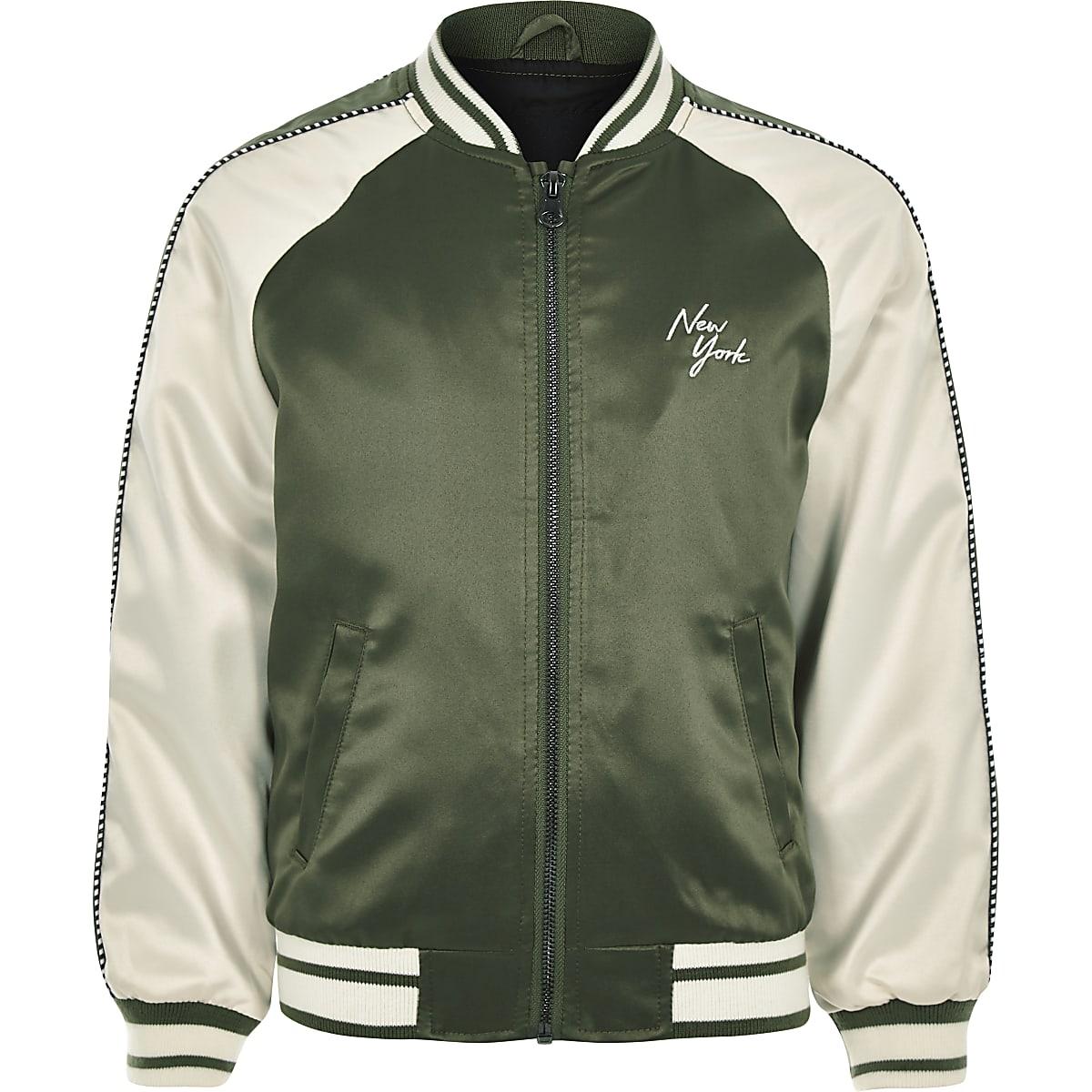 Boys khaki 'New York' bomber jacket