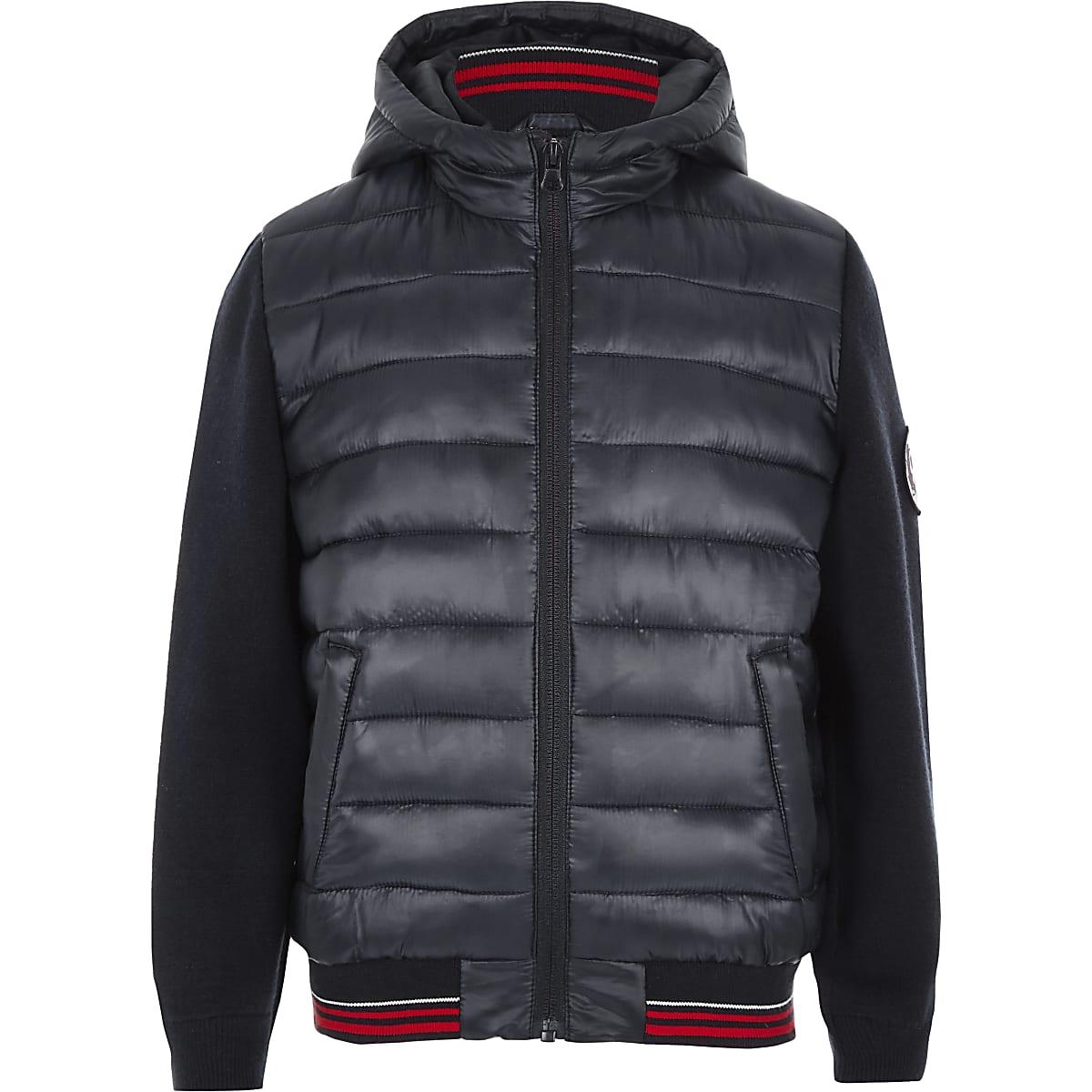 Boys navy hybrid puffer jacket