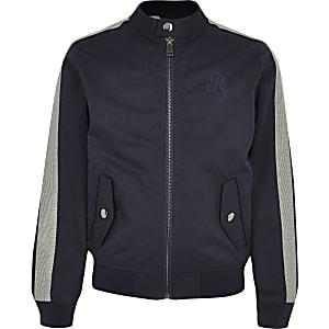 Marineblauwe jas met racernek voor jongens