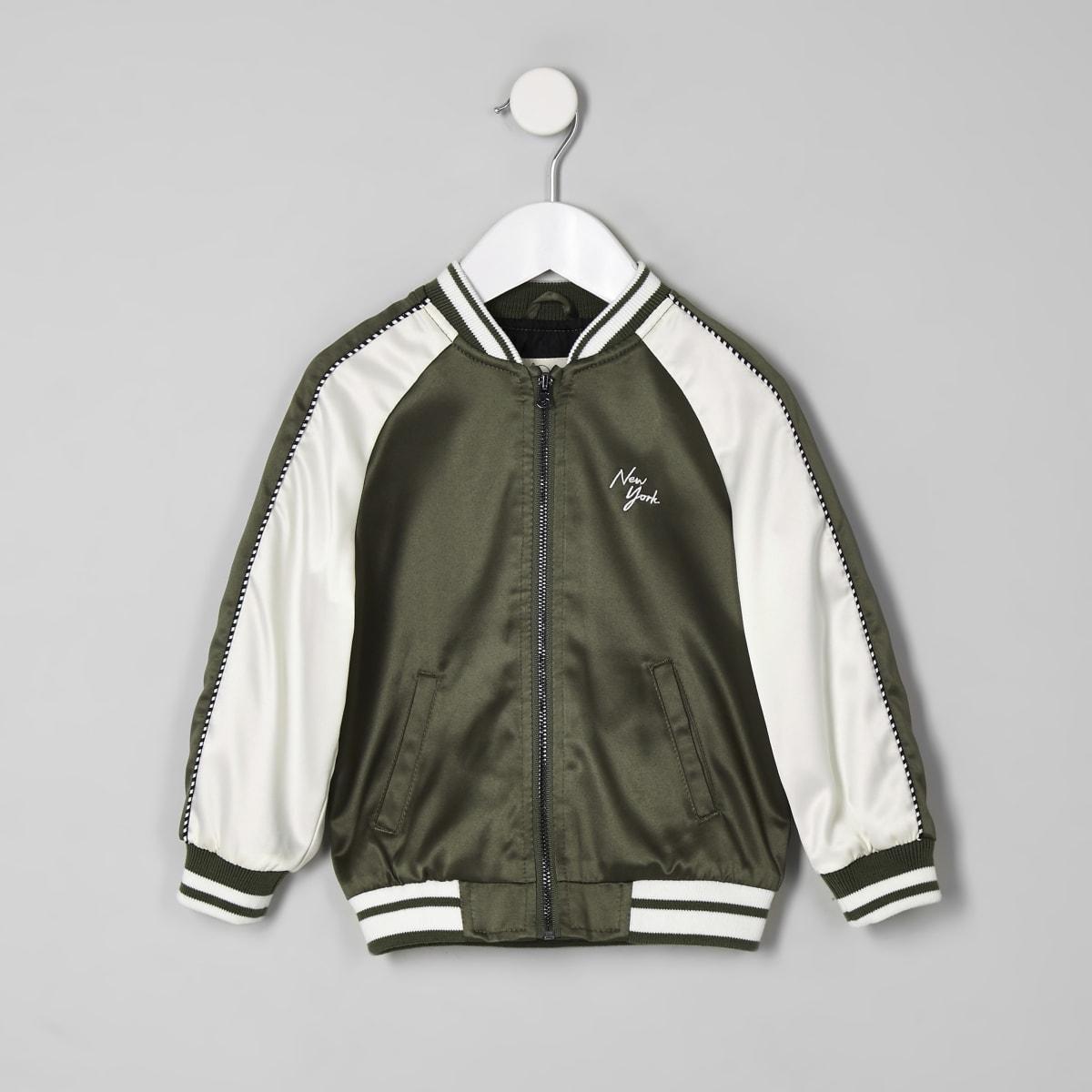 Mini boys khaki 'New York' bomber jacket