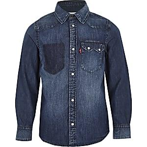 Levi's - Blauw denim overhemd voor jongens