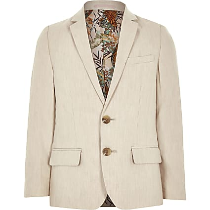 Boys cream linen suit blazer