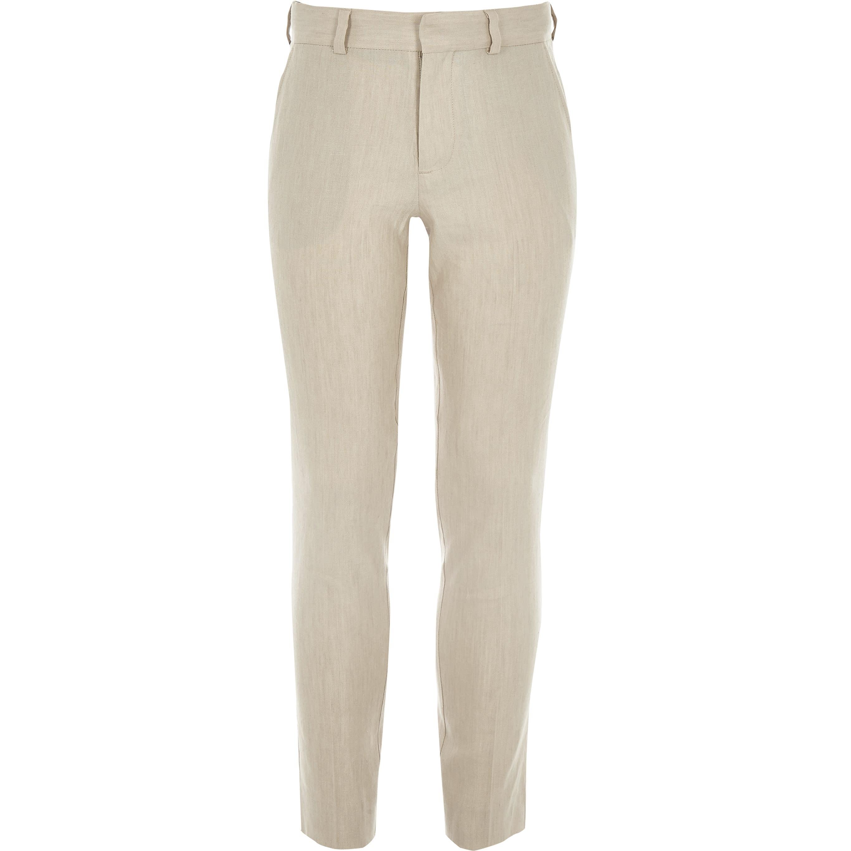 RIVER ISLAND   Mens Boys Ecru Linen Suit Trousers   Goxip