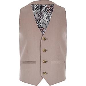 Roze gilet van linnen voor jongens