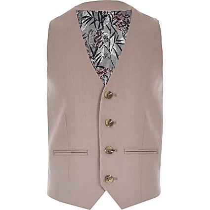 Boys pink linen suit waistcoat