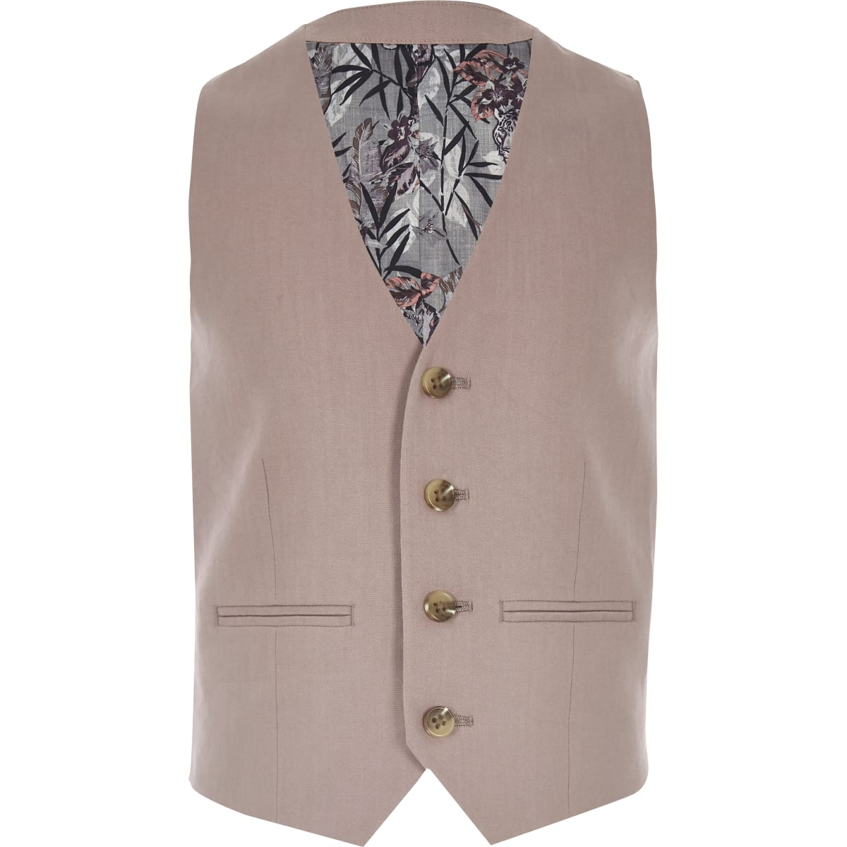 Boys pink linen suit vest