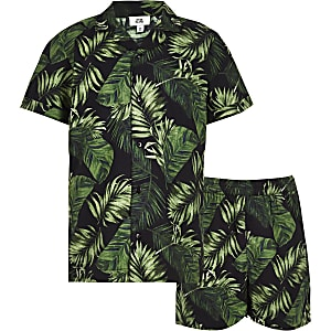 Boys black tropical pajama set