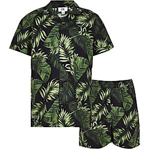 Pyjama motif tropical noir pour garçon