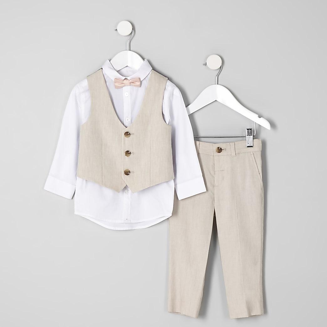 Mini boys ecru suit outfit