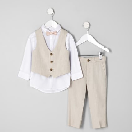 Mini boys ecru suit outfit