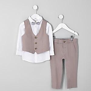 Costume en lin rose avec nœud papillon pour mini garçon
