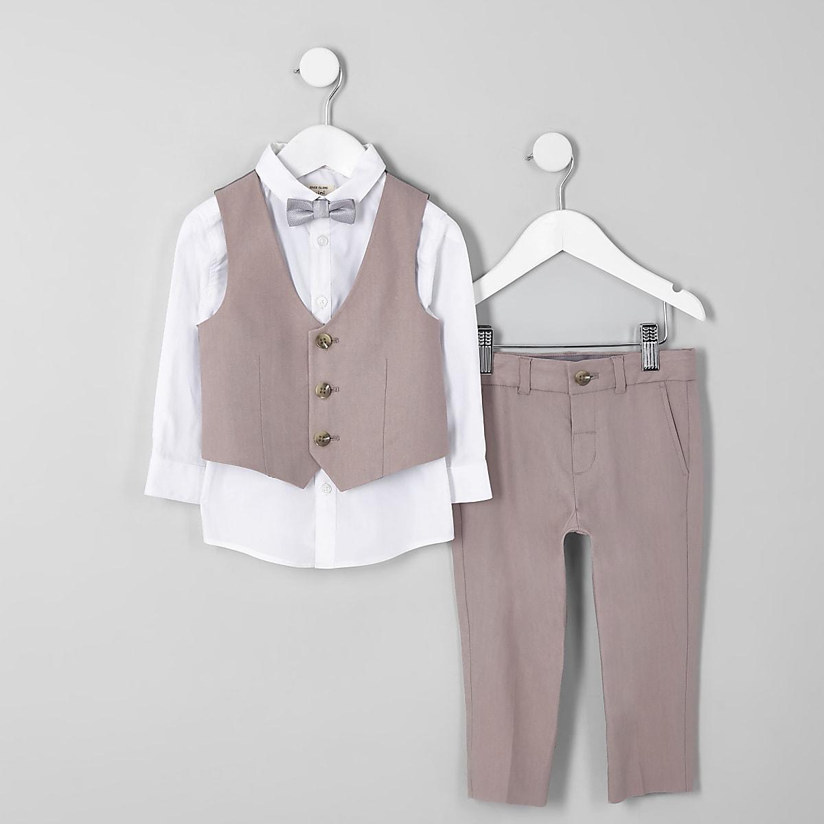 Mini boys pink linen bow tie suit outfit