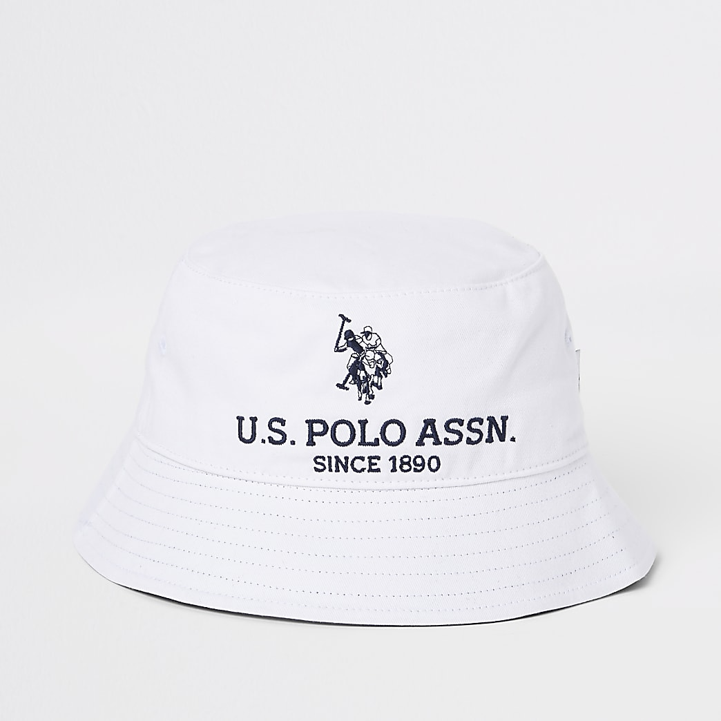 Boys white U.S. Polo Assn. bucket hat