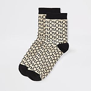 Braune Socken mit Monogram-Print, Set