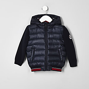 Mini boys navy hybrid puffer jacket