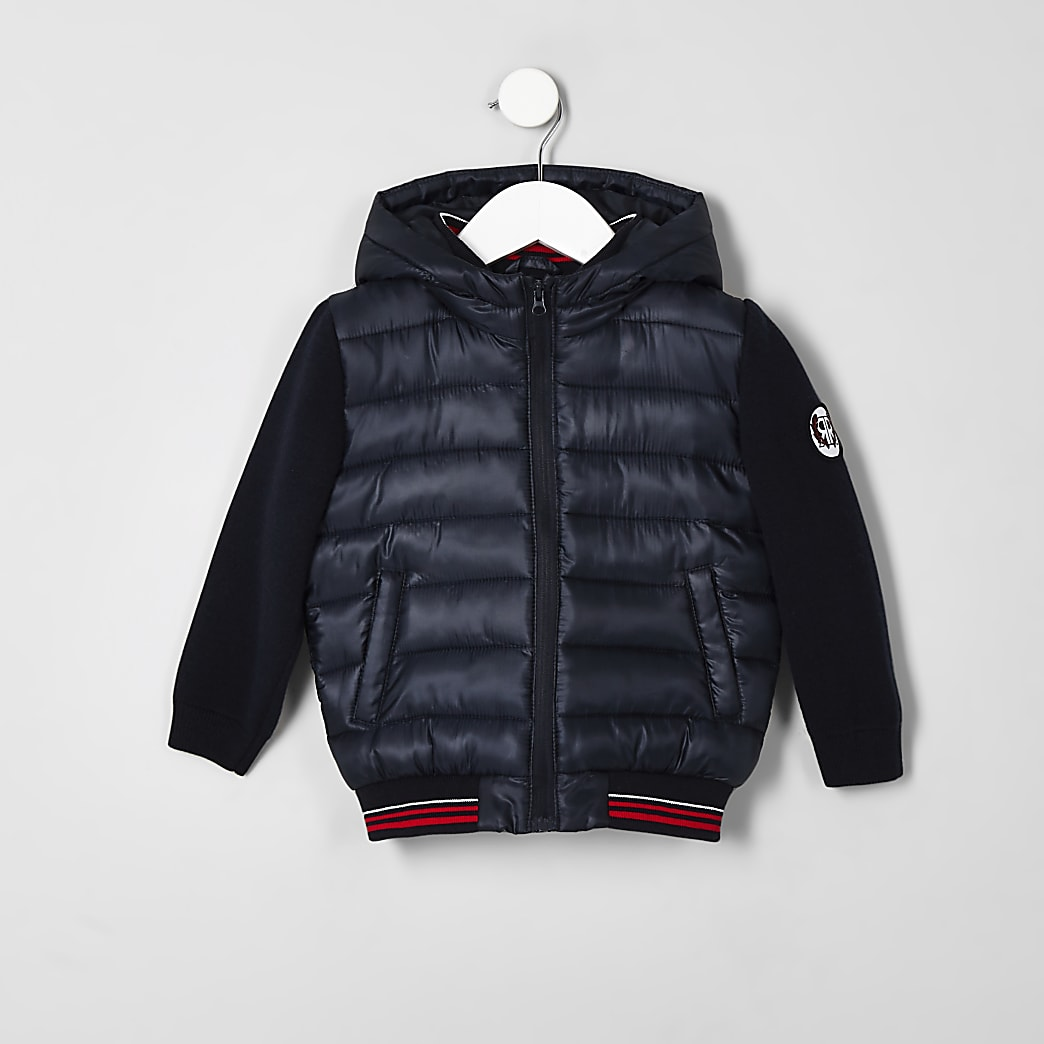 Mini boys navy hybrid puffer jacket