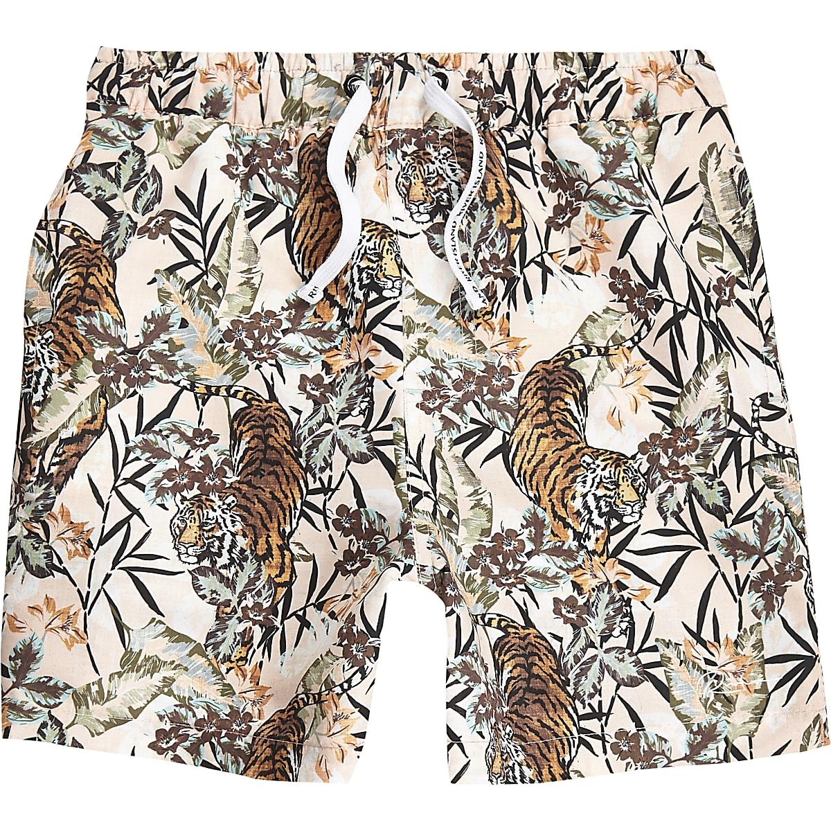 Boys pink tiger print swim trunks