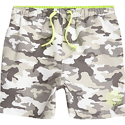 Boys grey camo print swim shorts