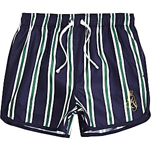 Boys navy stripe RI runner swim shorts