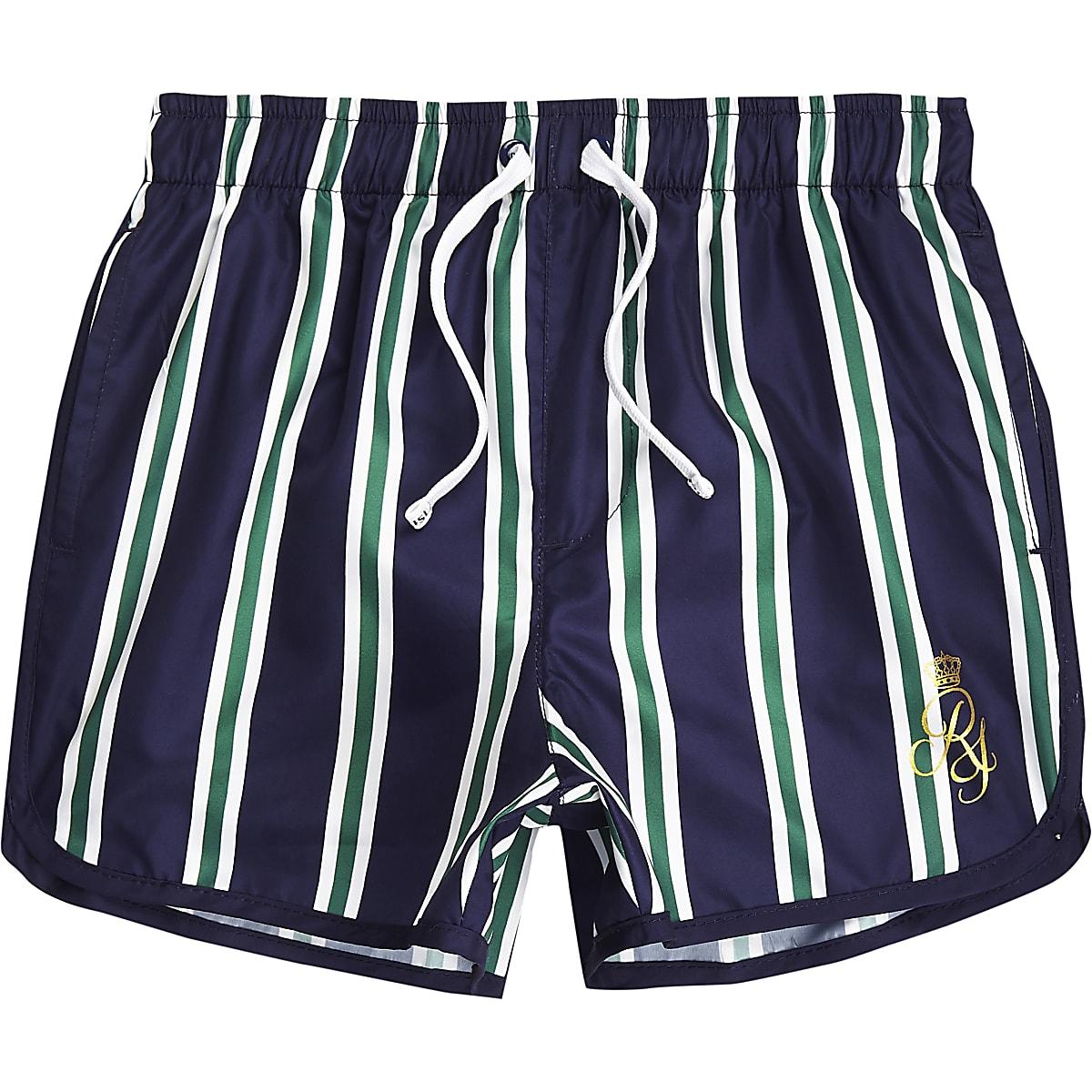 Boys navy stripe RI runner swim shorts
