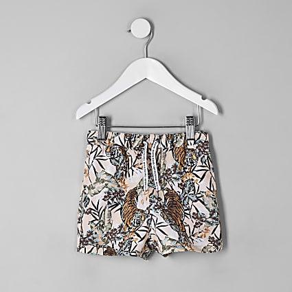 Mini boys pink tiger print swim shorts