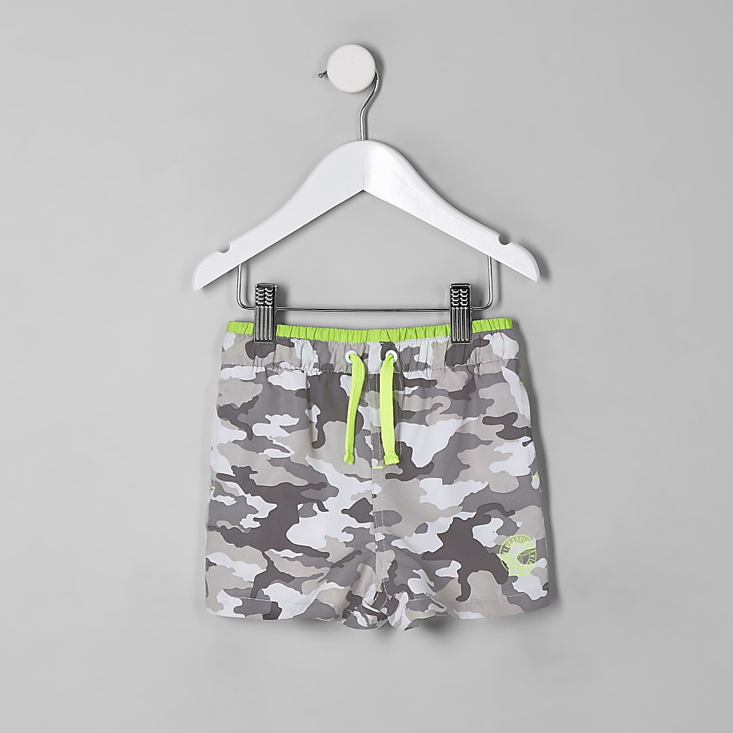 Mini boys grey camo swim shorts