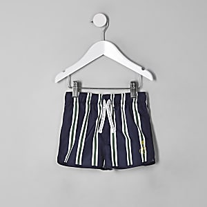 Short de bain rayé bleu marine style sport pour mini garçon