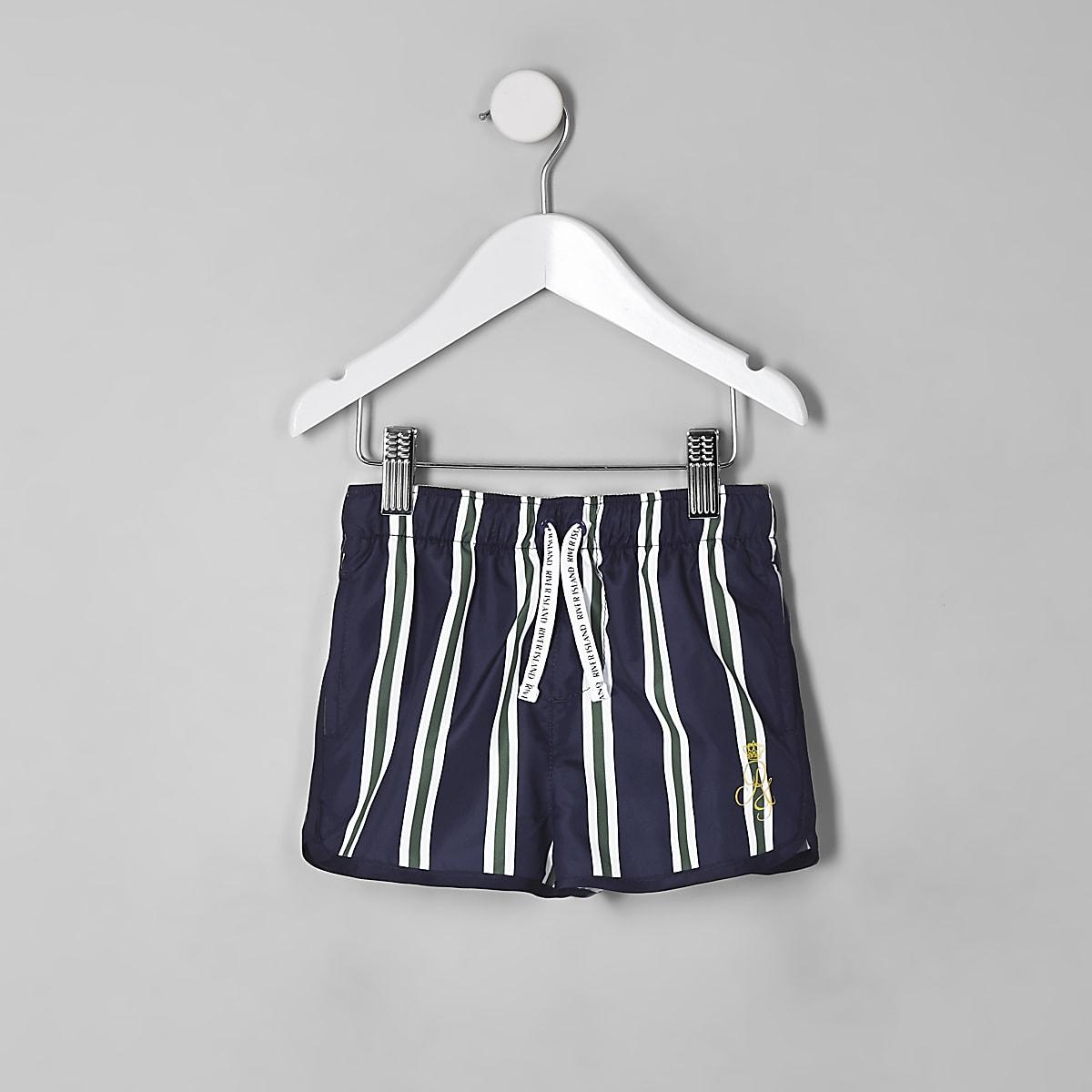 Mini boys navy stripe runner swim trunks