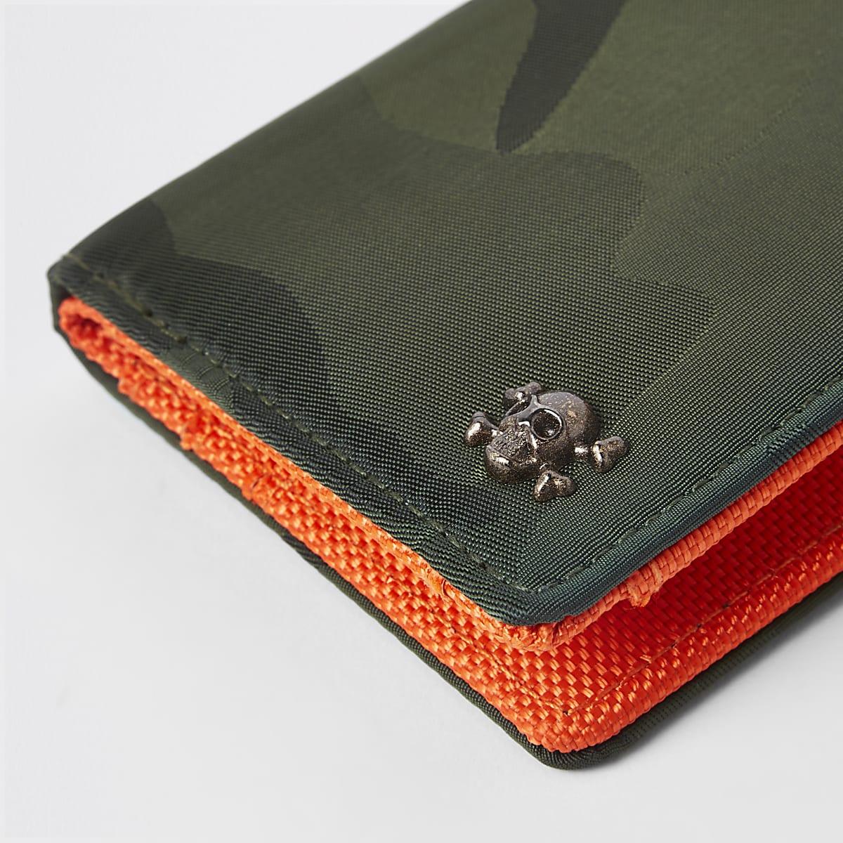 Portemonnee Jongens.Kaki Uitvouwbare Portemonnee Met Camouflageprint Voor Jongens