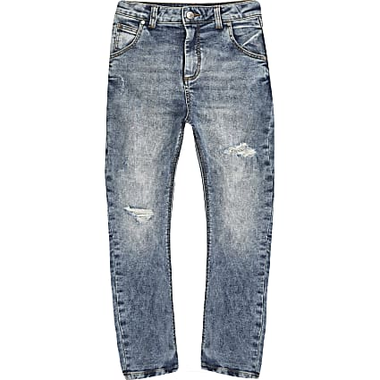Boys mid blue Tony tapered jeans