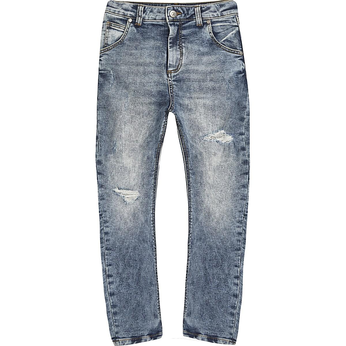 Tony - Middenblauwe smaltoelopende jeans voor jongens