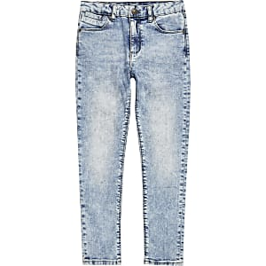 Danny – Hellblaue Superskinny Jeans mit Acid-Waschung