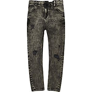 Boys black acid wash Tony tapered slouch