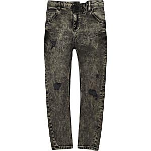 Tony - Zwarte acid wash smaltoelopende nonchalante broek voor jongens