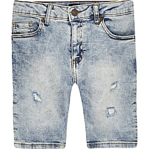 Boys light blue Sid skinny denim shorts