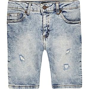 Sid - Lichtblauwe skinny denim short voor jongens