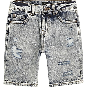 Boys mid blue ripped skater denim shorts