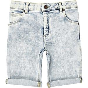 Dylan - Blauwe wash slim-fit short voor jongens
