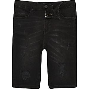 Sid - Zwarte washed ripped denim short voor jongens