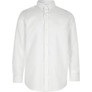 Wit overhemd met RI-logo en lange mouwen voor jongens
