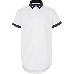 Boys white double collar shirt