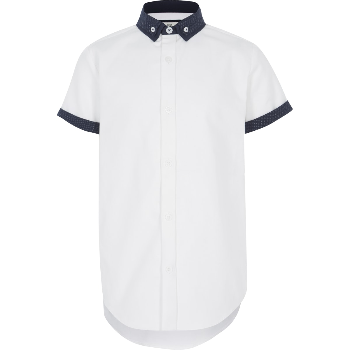Boys white double collar shirt
