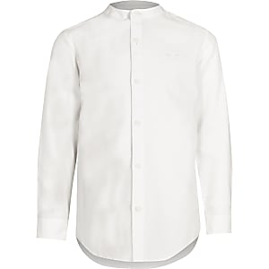 Boys white wasp embroidered grandad shirt