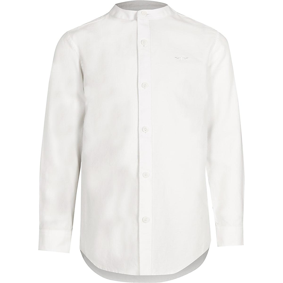 Boys white wasp embroidered grandad shirt