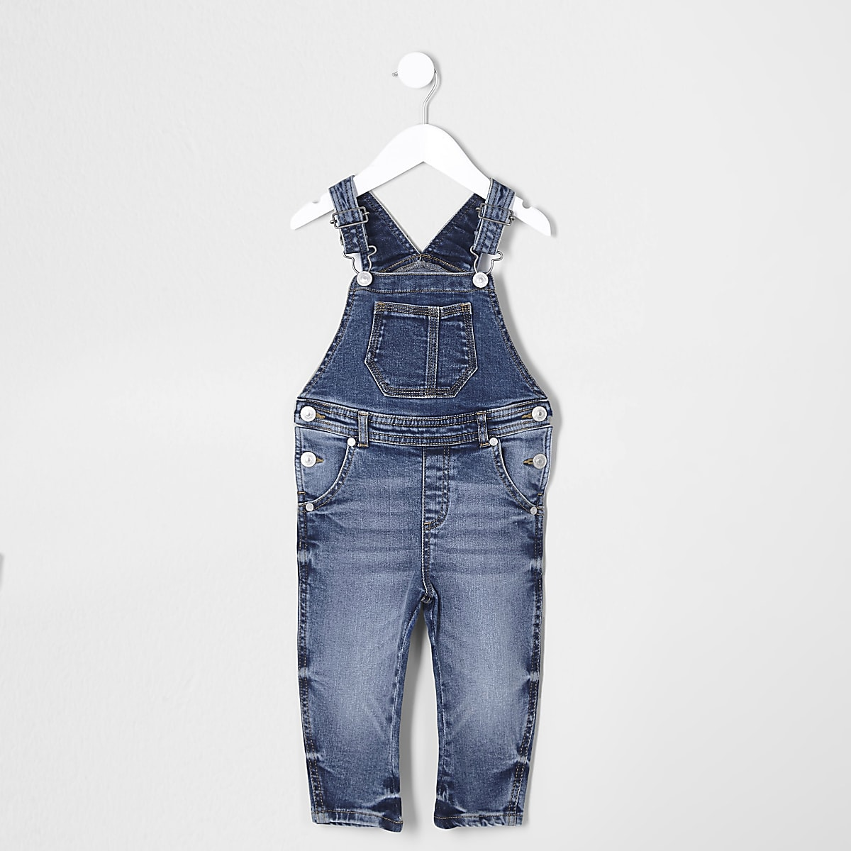 Mini kids mid blue denim dungarees