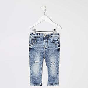Mini - Blauwe acid wash ripped jeans voor jongens