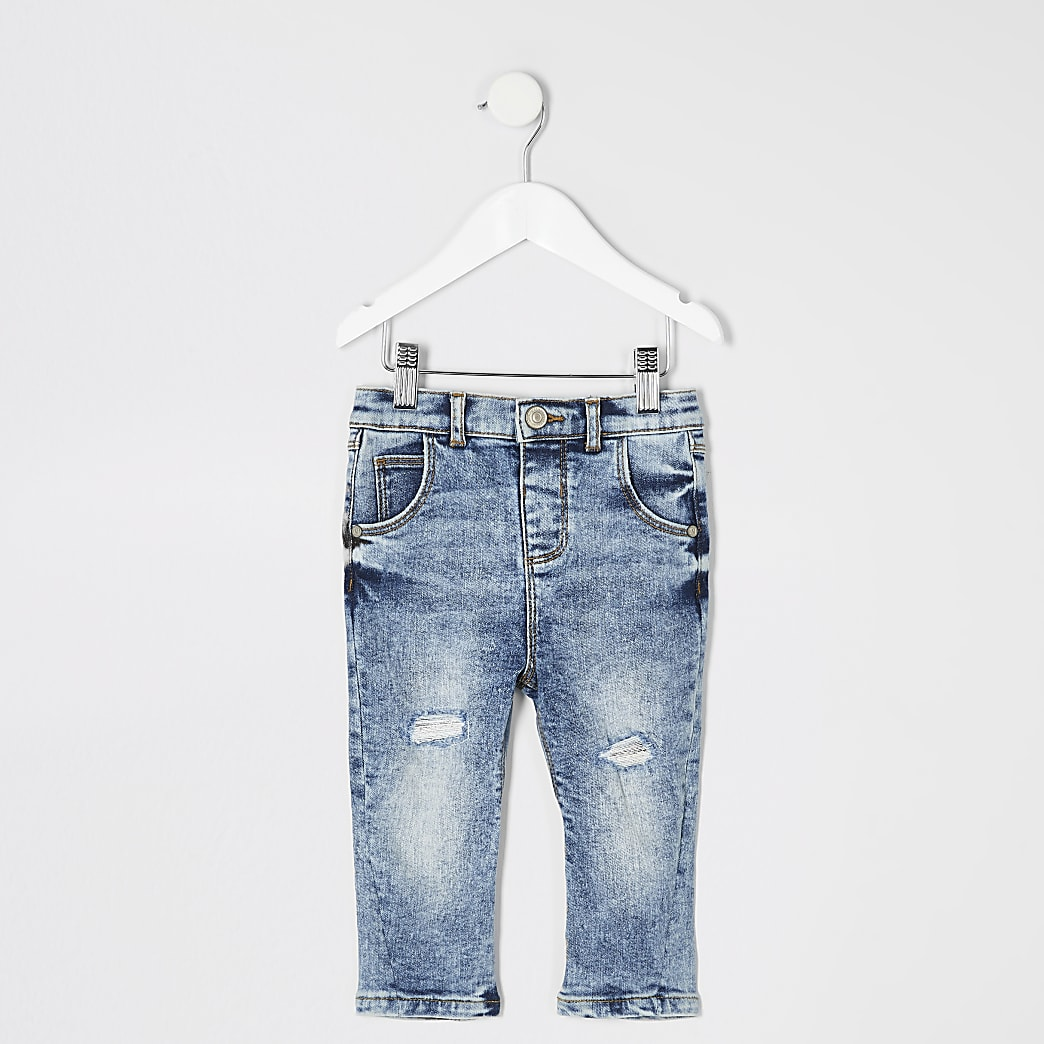 Mini boys blue acid wash ripped jeans