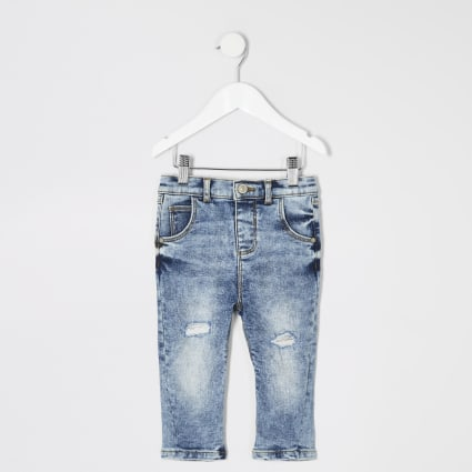 Mini boys blue acid wash ripped jeans