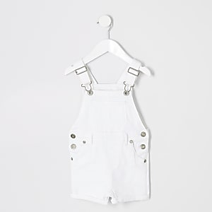 Mini boys white denim short dungarees