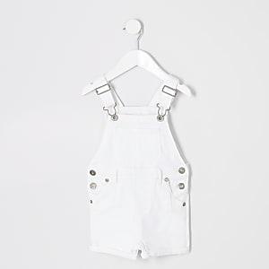 Mini boys white denim short overalls